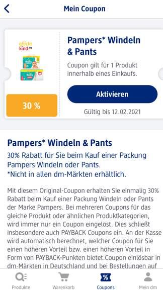 Pampers Pants Gr. 4 (160 Stk.) mit 30% + 10% Coupon in der DM App (ggf. Personalisiert)