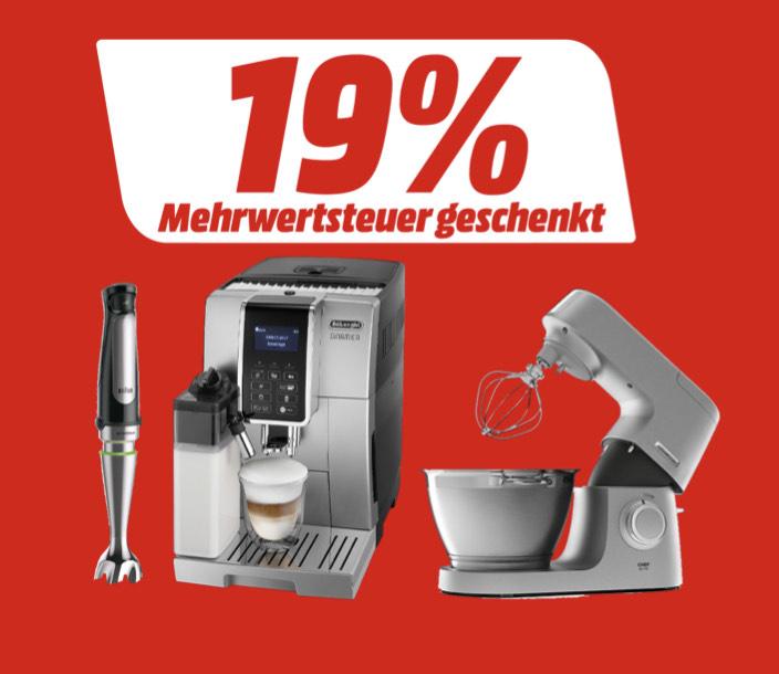 [Media Markt] Mehrwertsteuer geschenkt für ausgewählte Produkte von De'Longhi, Kenwood & Braun
