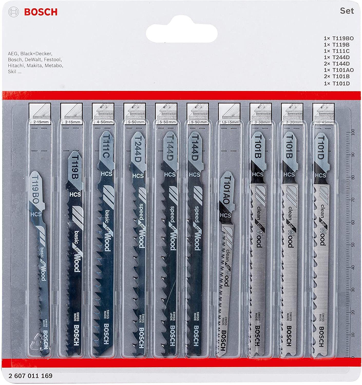 [Amazon Prime] Bosch Professional 10tlg. Stichsägenblätter Set (für Holz, Zubehör für Stichsägen mit T-Schaft Aufnahme) 2607011169
