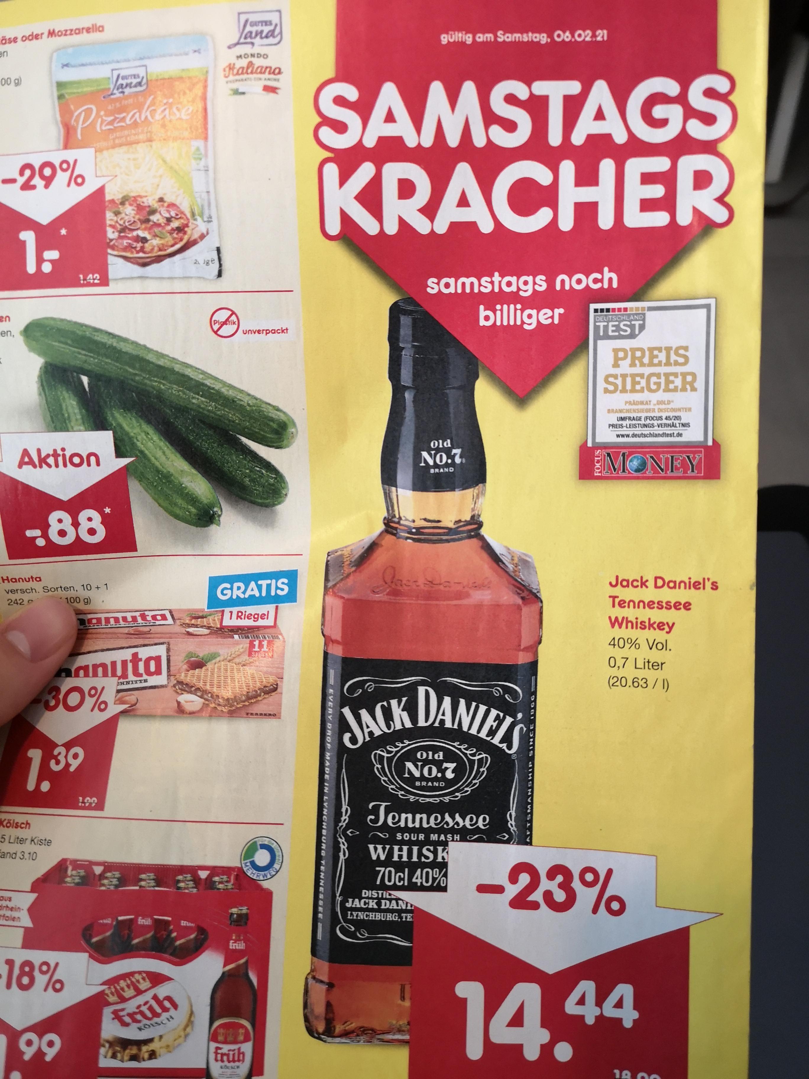 [Netto MD]Jack Daniel's (Daniels) 0,7 für effektiv 12,27€ nur Samstag 06.02.2021