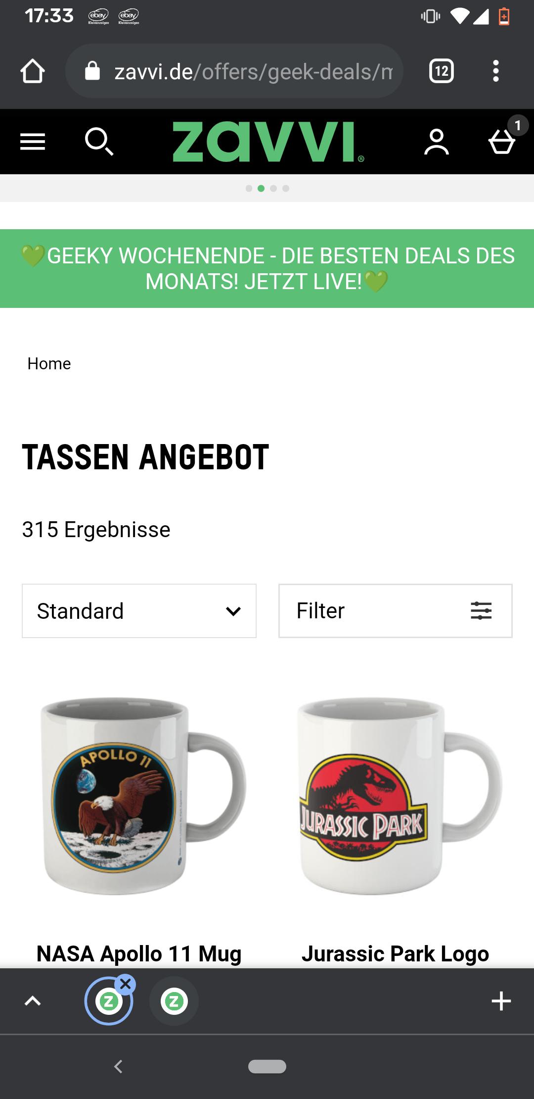 Zavvi 4 Tassen für 17€ Geek Nerd Super Mario NASA Harry Potter