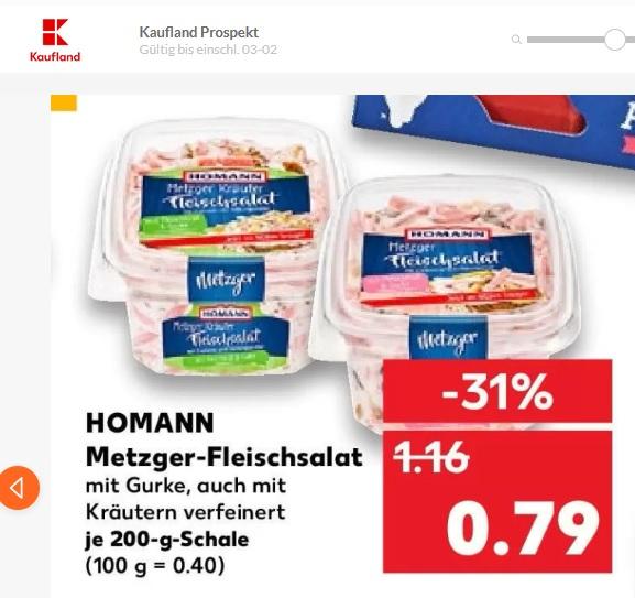 [Kaufland] Homann Metzger-Fleischsalat 200g 0,39€ durch Cashback