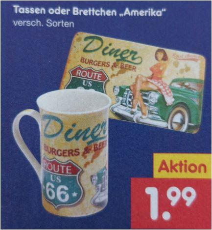 """Tassen oder Brettchen """"Amerika"""" zum Superbowl, verschiedene Ausführungen für jeweils 1,99 Euro [Netto MD]"""