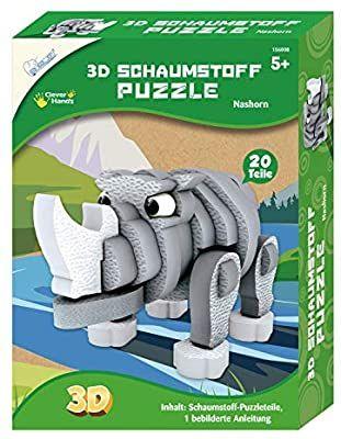 [Amazon Prime] Mammut 156008 - Bastelset 3D Puzzle Nashorn, Puzzlespiel mit Safari Tieren, aus Schaumstoff, ab 5 Jahren, 20 Teile