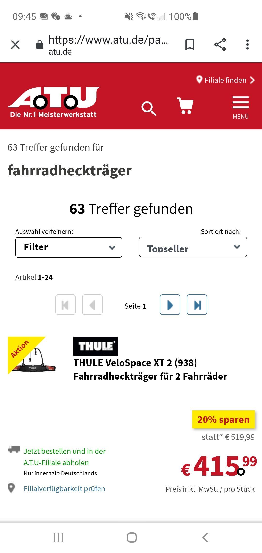 Thule VeloSpace XT 2 938 Fahrradheckträger alle auf ATU mit 20%