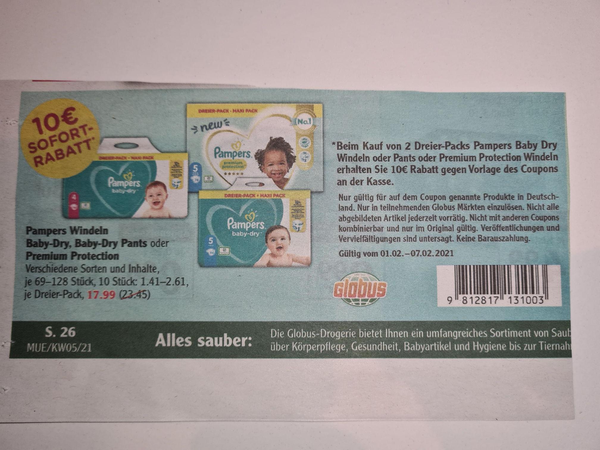 Pampers 2x Dreier-Pack Baby-Dry, Baby-Dry Pants, Premium Protection Angebot + 10€ Rabatt bei Globus (1.-6.2)