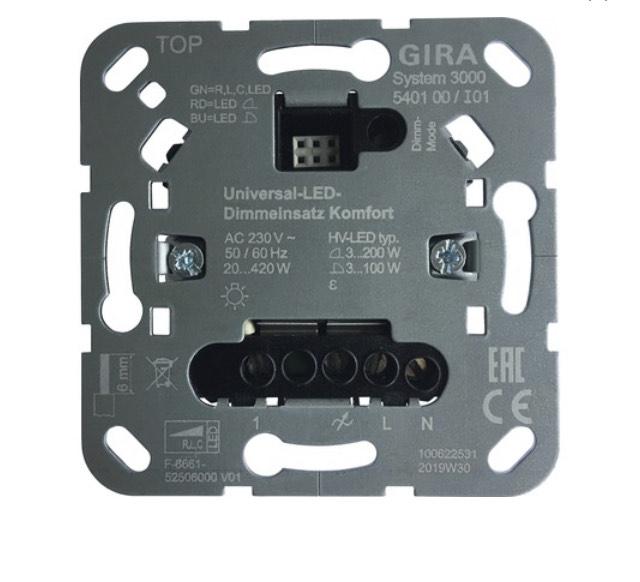 LED Dimmer-Einsatz Gira 540100 Tastdimmer