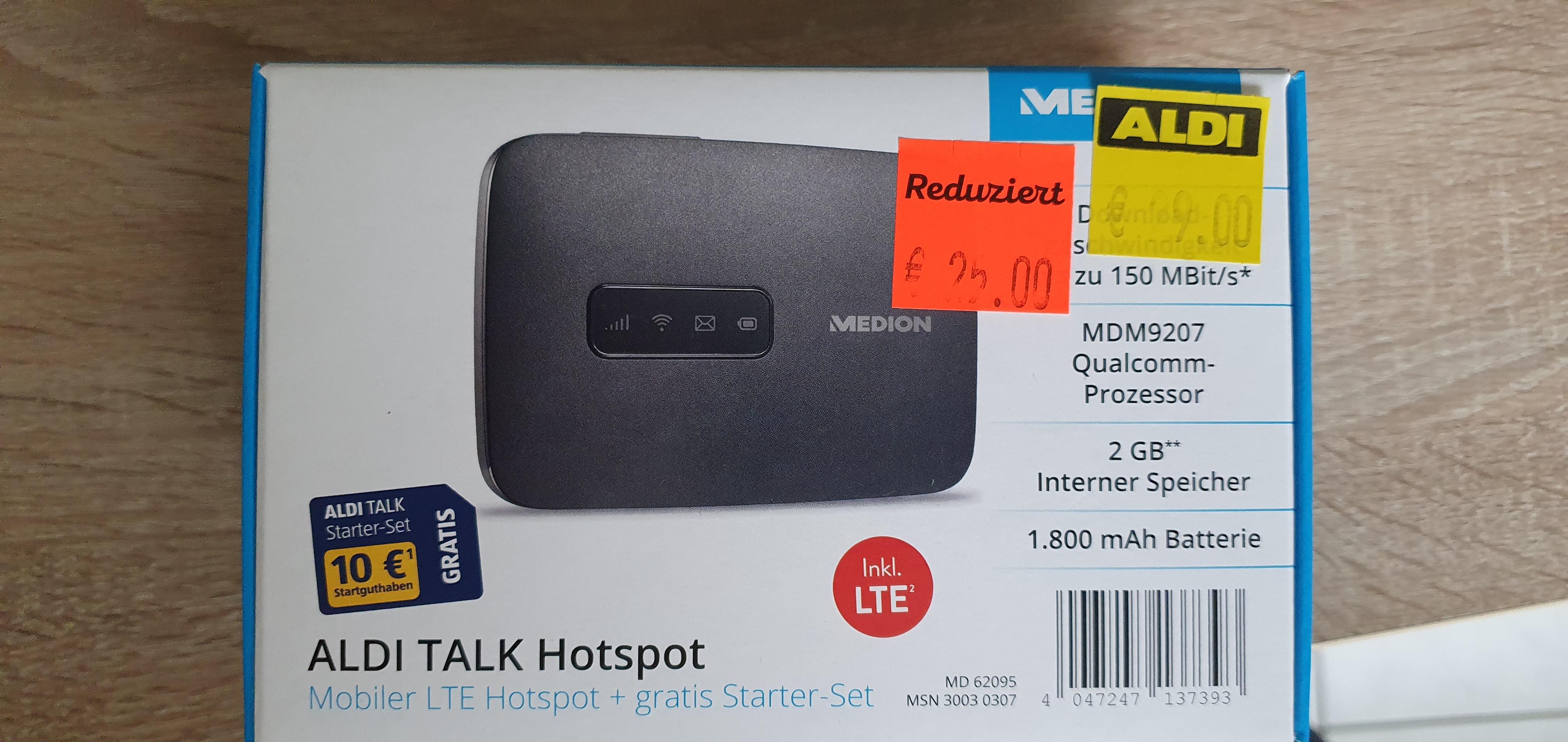 (Lokal Aldi Höxter) Mobiler LTE-Hotspot MD62095 incl. 10,- Aldi Talk Starter-Set
