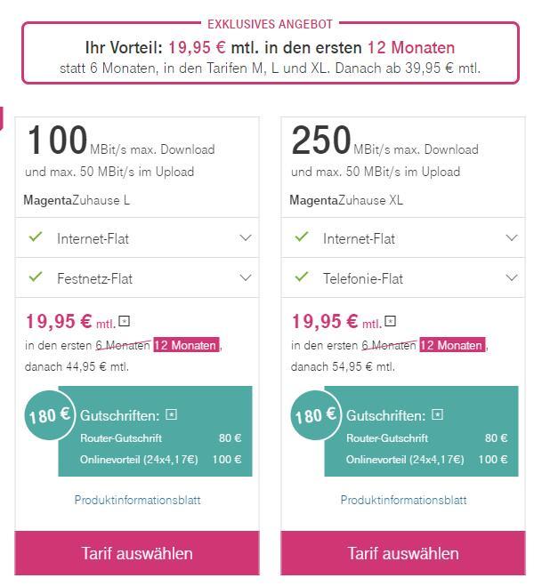 Telekom Magenta Zuhause XL (250 Mbit/s) ab 29,95€ mtl. durch Telekom Aktion + ggf. 100€ Cashback