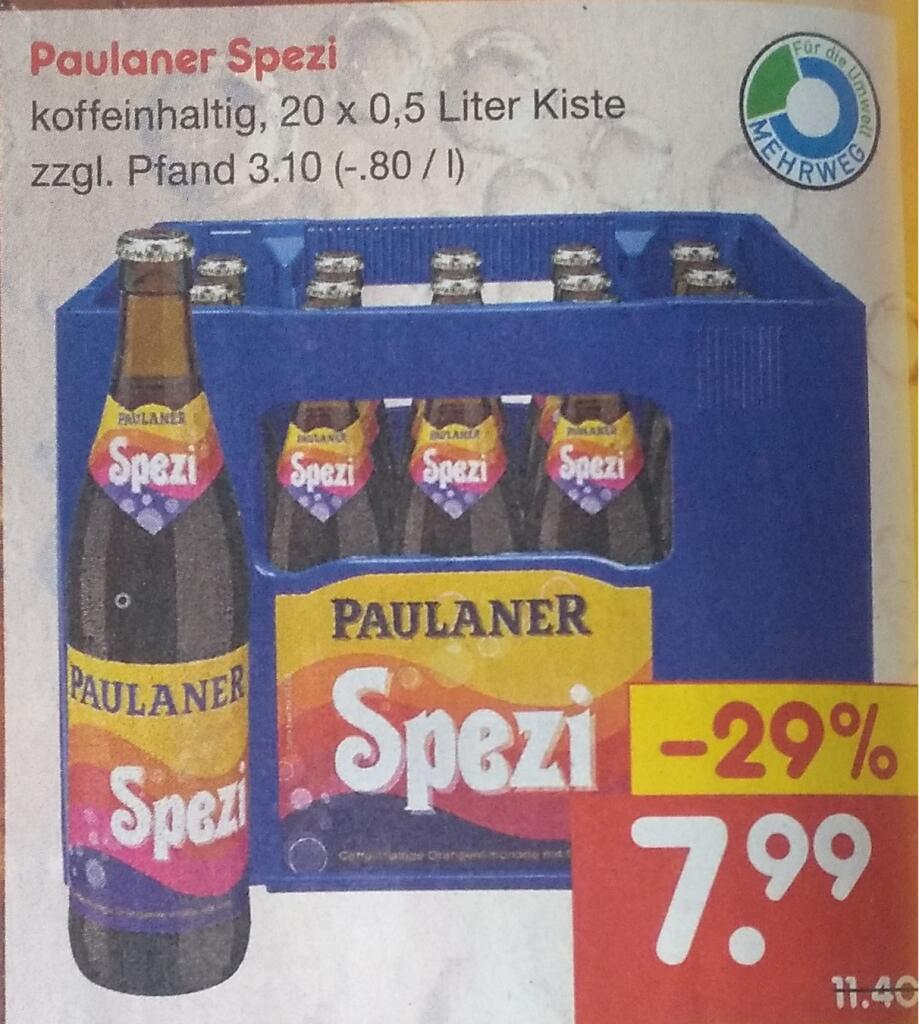 [BW] Paulaner Spezi - Kasten für 7,99 [Netto] (lokal)