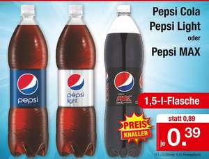 Pepsi Cola, Pepsi Light oder Pepsi Max, 1,5 Liter PET für 39 Cent [Zimmermann]
