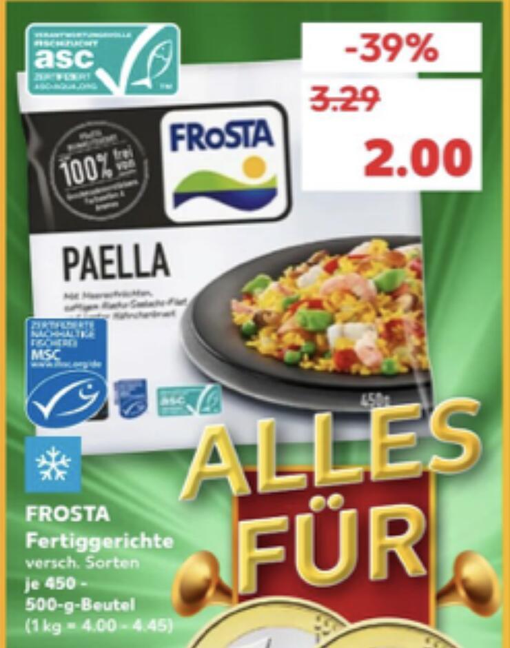 Frosta Fertiggerichte in versch. Sorten 450g-500g für 2€ [Kaufland]