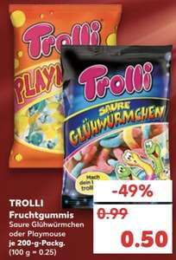 Trolli - Saure Glühwürmer o. Playmouse für je 0,50€ [Kaufland]