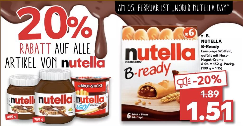 Zum World Nutella Day 20% auf alle Nutella Produkte z.B. Nutella B-Ready für 1,51€ [Kaufland]