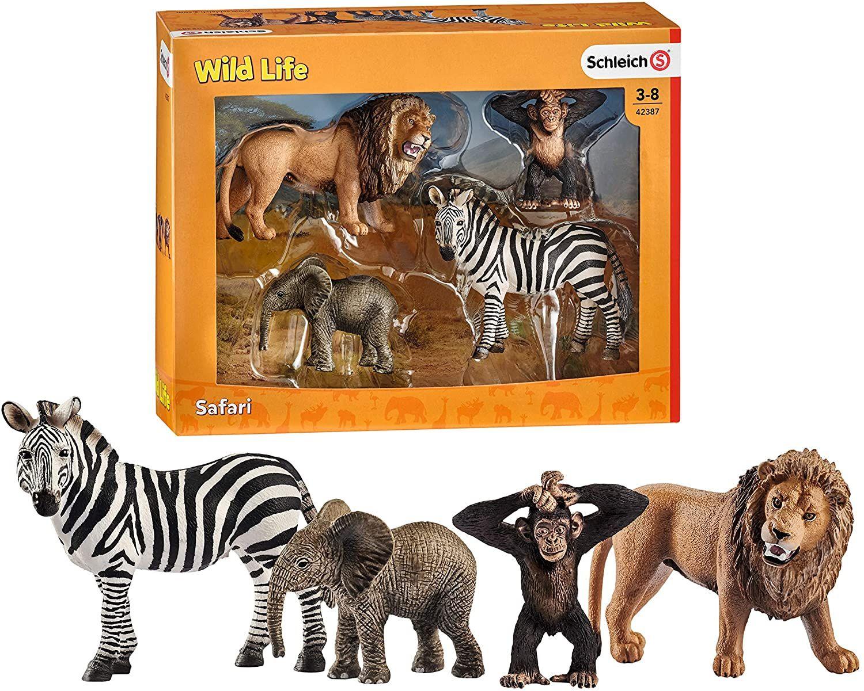 [Amazon Prime] Schleich 42387 - Wild Life Starter-Set, Löwe, Zebra, afrikanisches Elefantenbaby, Schimpansen Junges