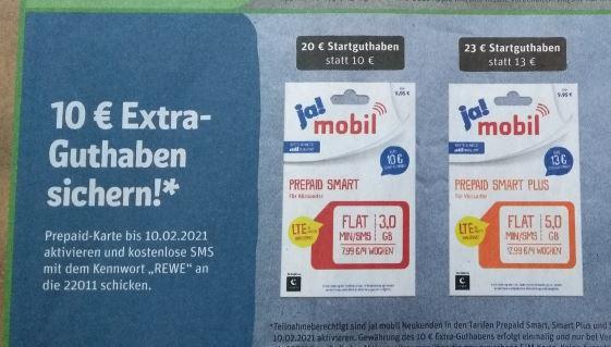 [REWE] 10 Euro Extra-Guthaben für Neukunden von ja! mobil (Tarife mit Telekom-Netz) - 01.02 bis 10.02.