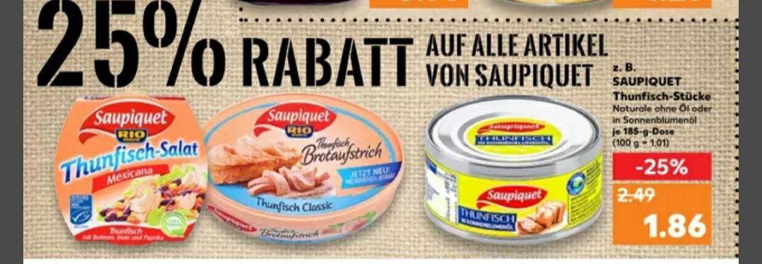 [KAUFLAND Rabattaktionen] 25% auf Saupiquet, 33% auf Vitalkraft und 20% auf Nutella