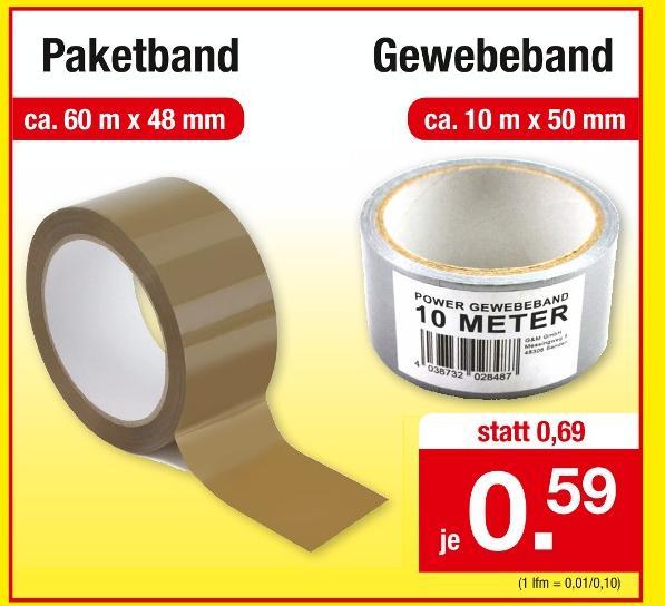 Paketband oder Gewebeband für 59 Cent [Zimmermann]