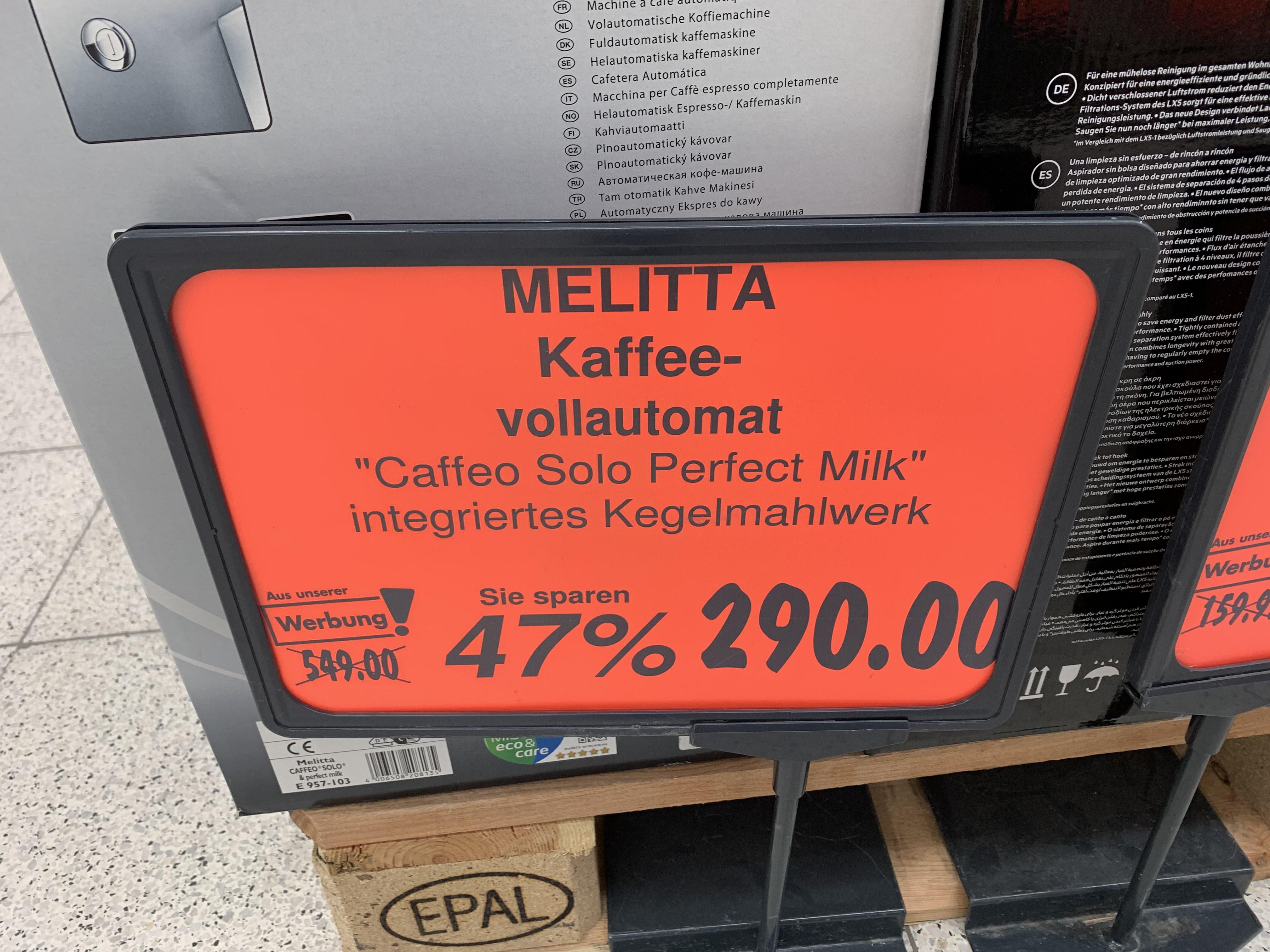 Lokal Kaufland Dallgow Melitta E 957-103 Kaffeevollautomat Caffeo Solo