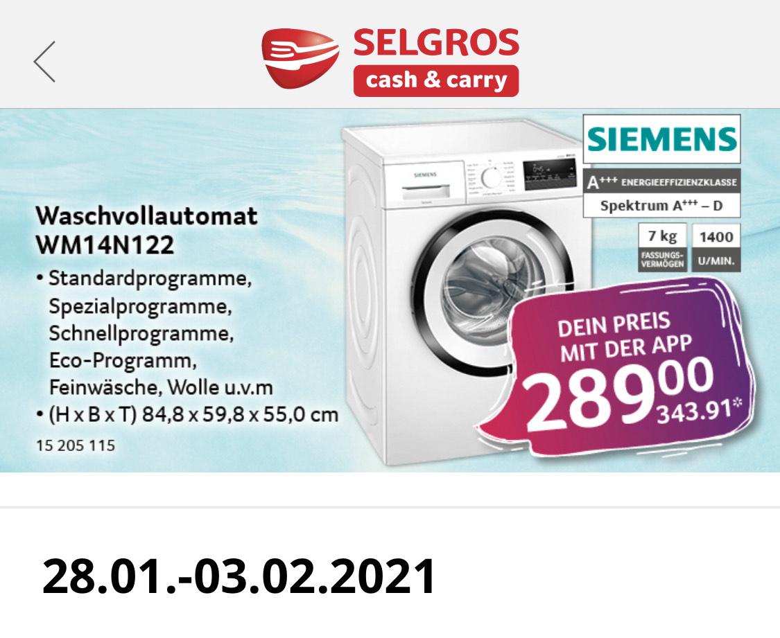 [selgros] Siemens Waschvollautomat WM14N122 A+++
