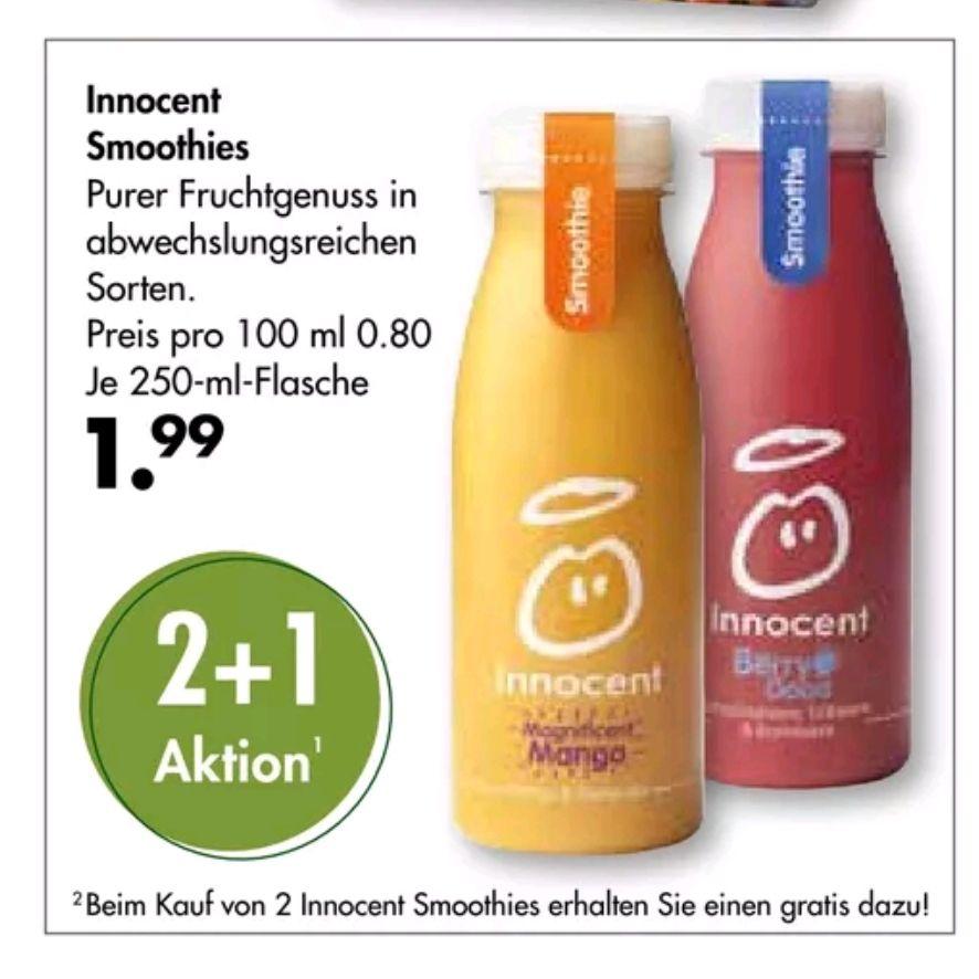 Galerie Markthalle Innocent Smoothie 2+1 Aktion, effektiv 1,33€/Stück bei Kauf von 2 Flaschen