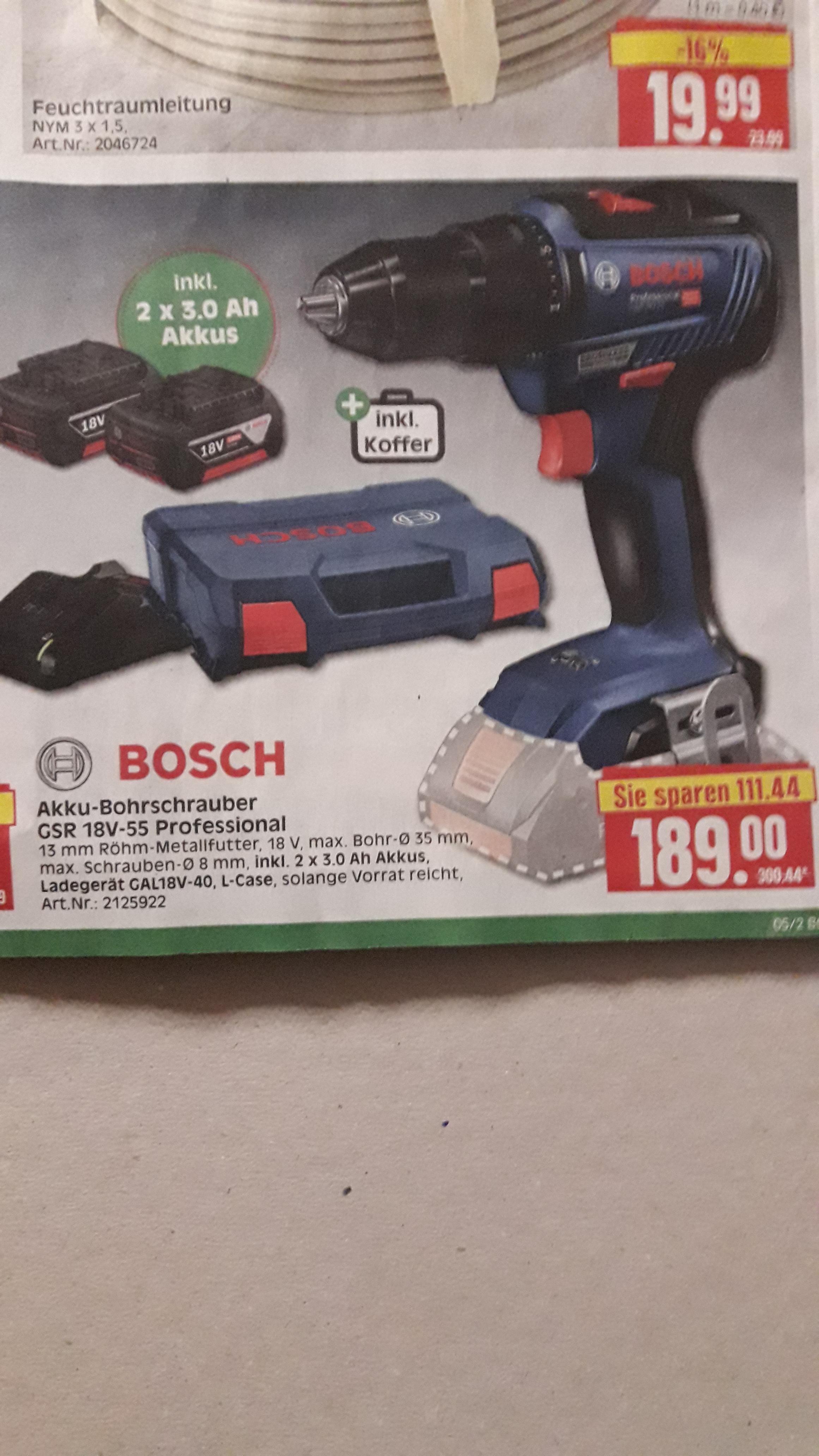 HERKULES BAUMÄRKTE-LOKAL- : Bosch professionell GSR 18V-55 inkl. L- Case , Ladegerät , 2 Stück/ 3ah Lit.Akkus