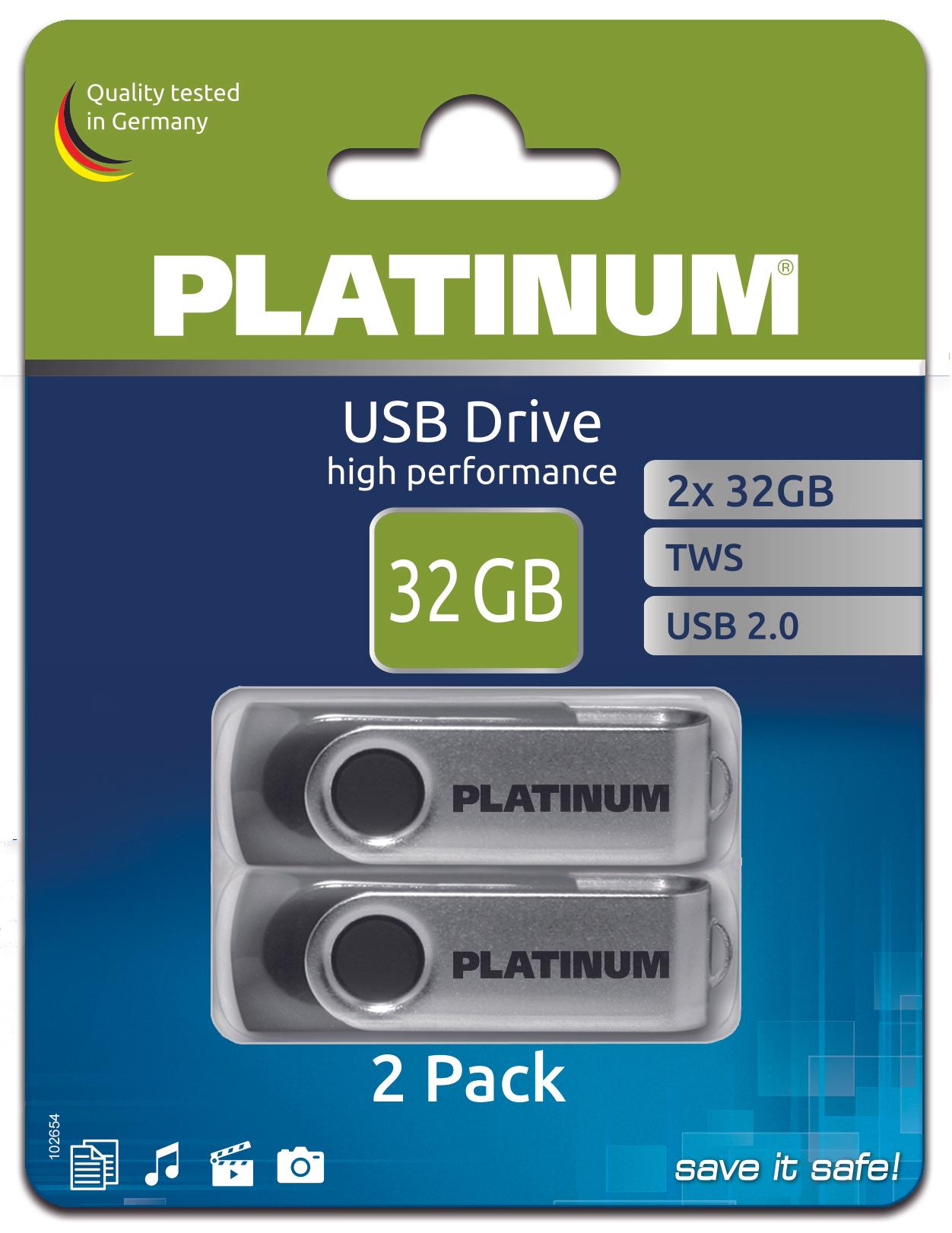 Globus Lebensmittelmarkt : Platinum 2er Pack USB Stick 2.0 mit jeweils 32 GB Kapazität