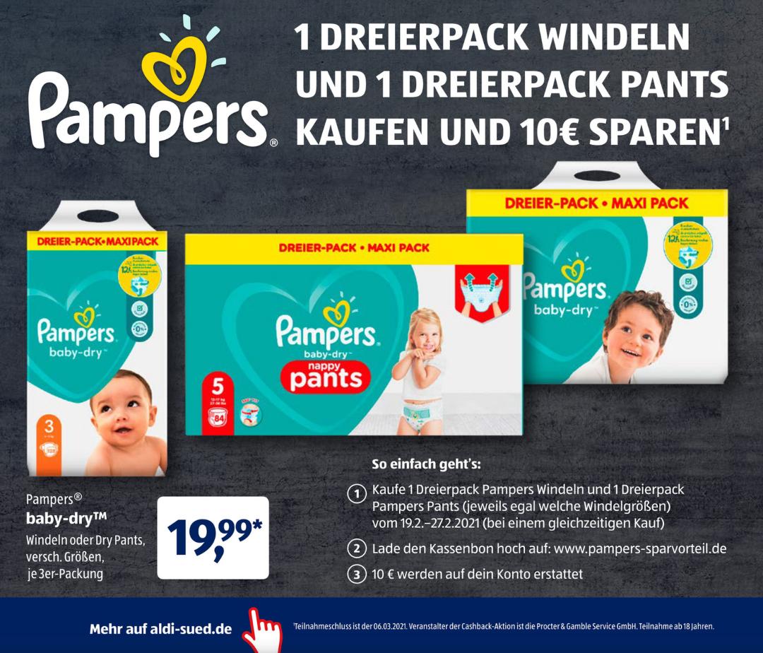 Aldi-Süd ab 19.02. - Pampers Baby-Dry und Pants Dreierpack 29,98€ möglich