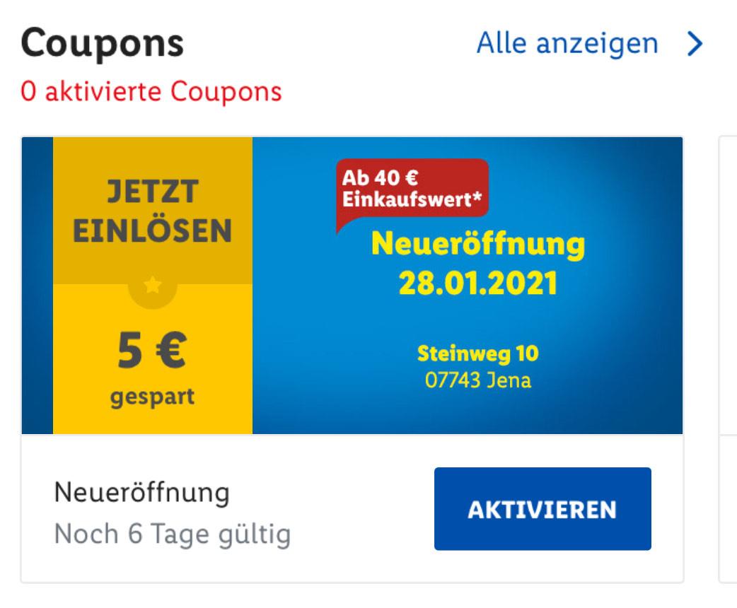 [Lokal & Lidl Plus App] Jena Lidl Neueröffnung Lidl 5€ ab 40€ Einkaufswert OFFLINE & Lidl Plus App