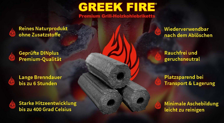 70kg Greek Fire Holzkohlebriketts im 3,5kg Gebinde