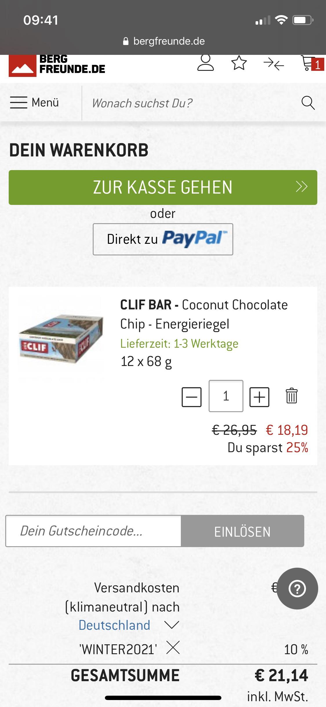 CLIF Bars verschiedene Sorten 18,19 Euro - 12x 68Gramm - ab 50Euro versandkostenfrei