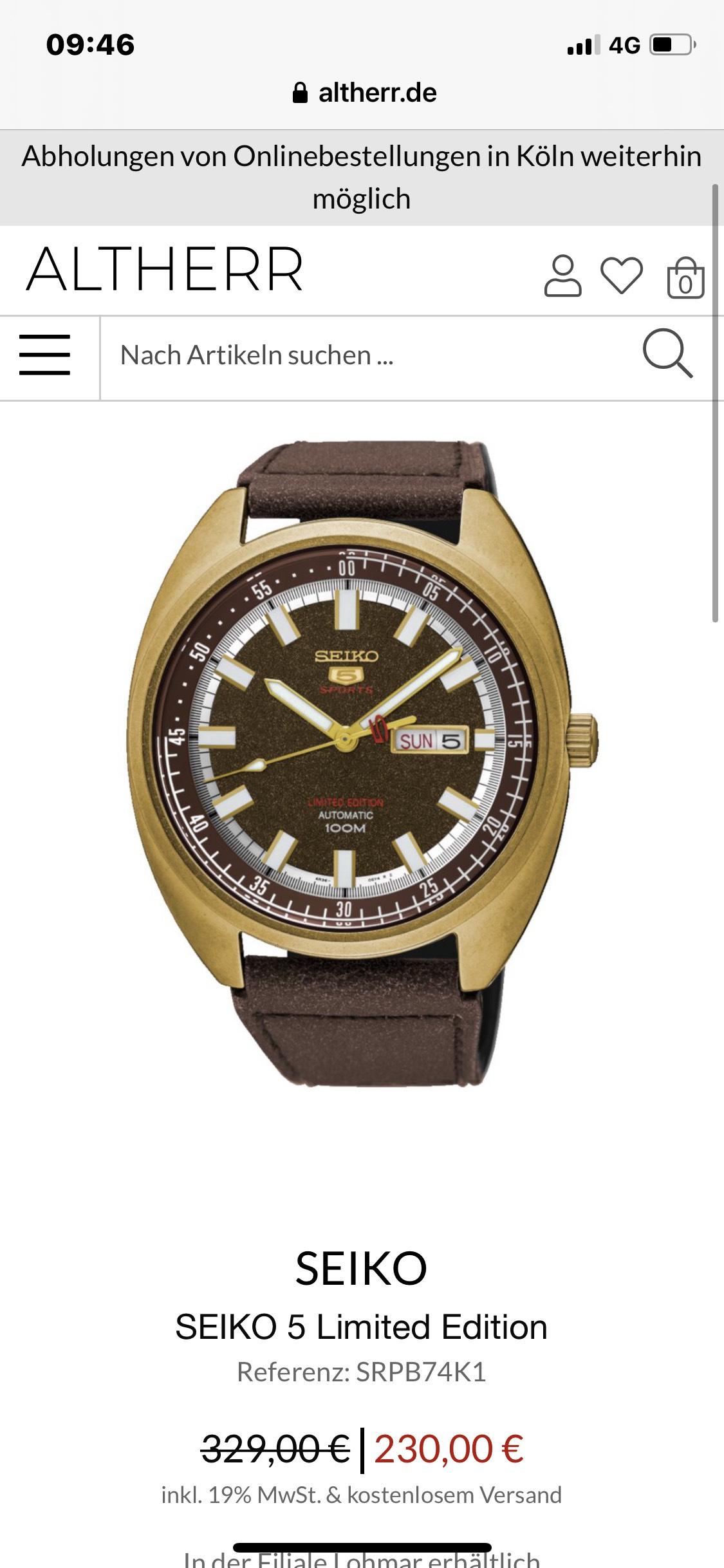 Seiko 5 Limited Edition Automatik Uhr SRPB 74K1 ( Vintage, 4R36, 44mm )