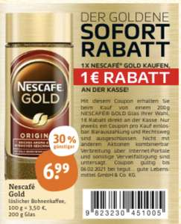 Nescafé Gold das Glas für € 5,99