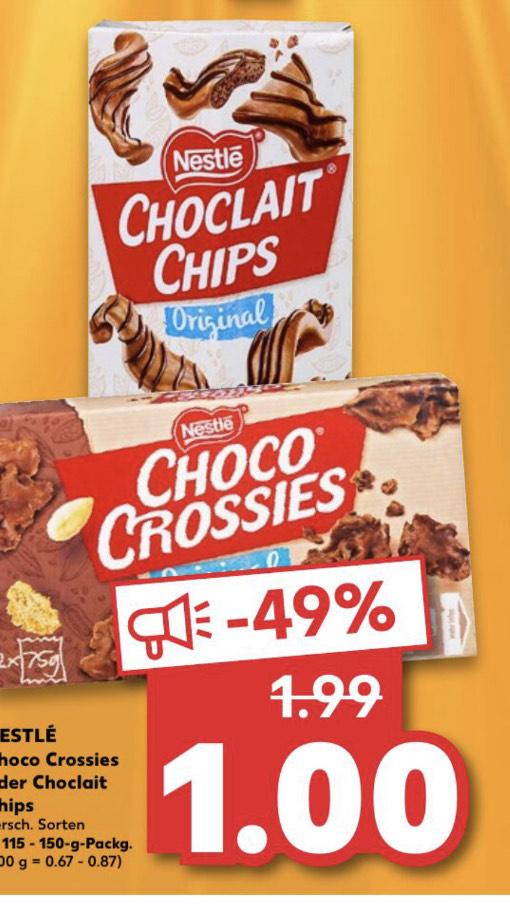 Choko Crossies und Choclait Chips für 1 Euro