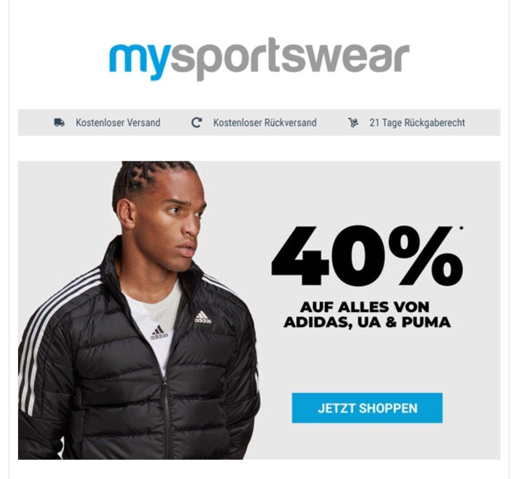 40% auf ALLES von Adidas, Under Armour und Puma