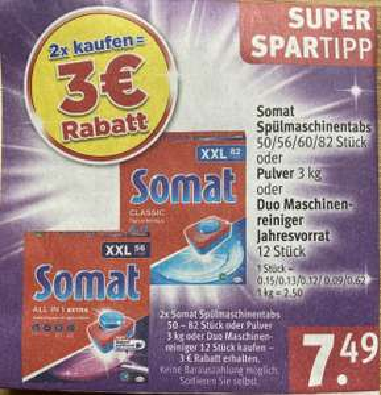 Somat XXL die Packung für € 5,39 beim Kauf von 2 Packungen und 10% aus der App