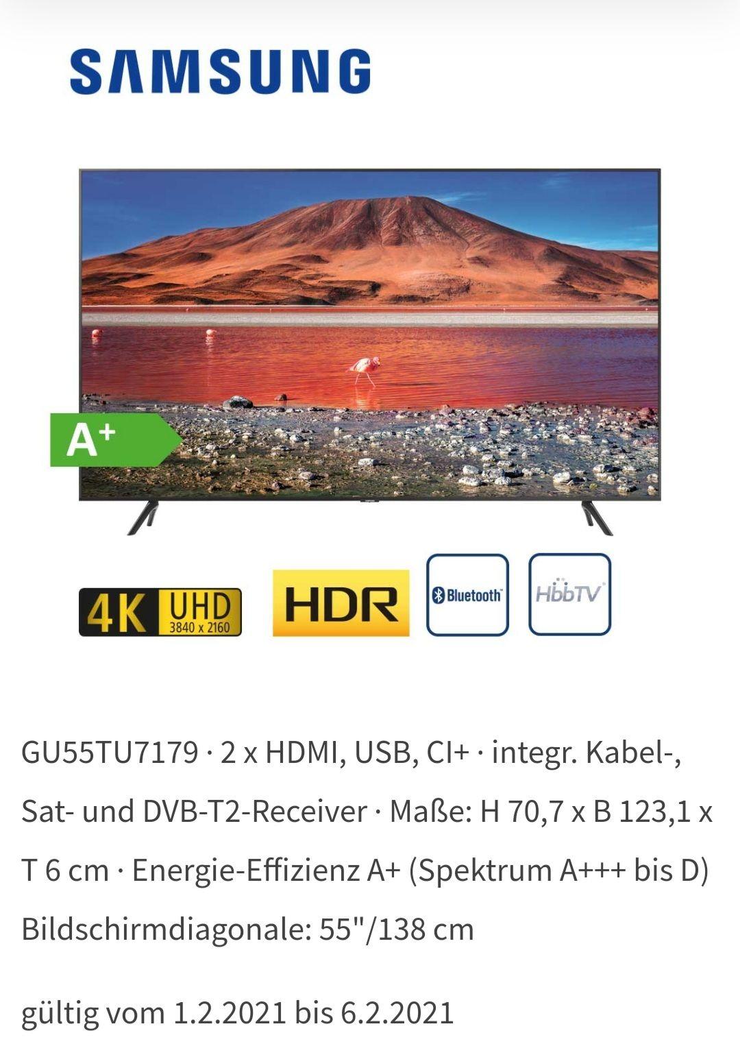 Samsung GU55TU7179 4K UGD HDR Bluetooth HbbTV