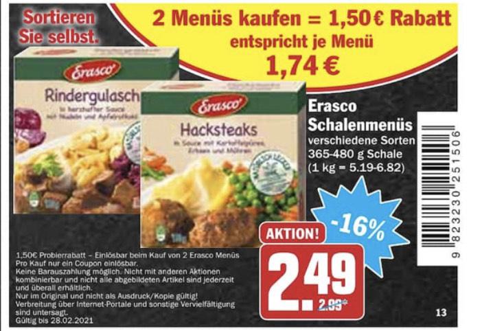 Erasco Menüs € 1,74 beim Kauf von 2 Stück (Hit)