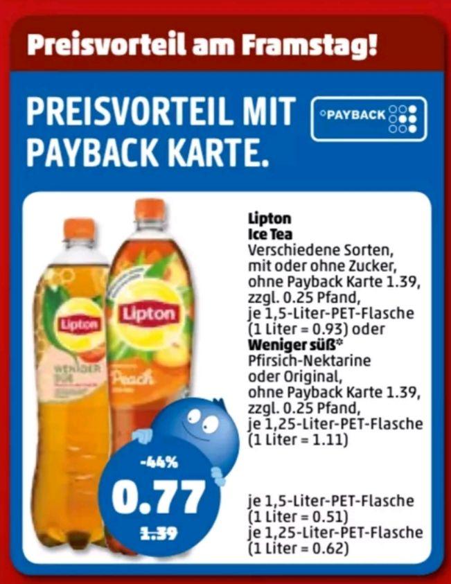 Penny (Payback) Lipton Eistee 1,5L. (Scondoo Cashback 0,50€ bei Kauf von 3 möglich)
