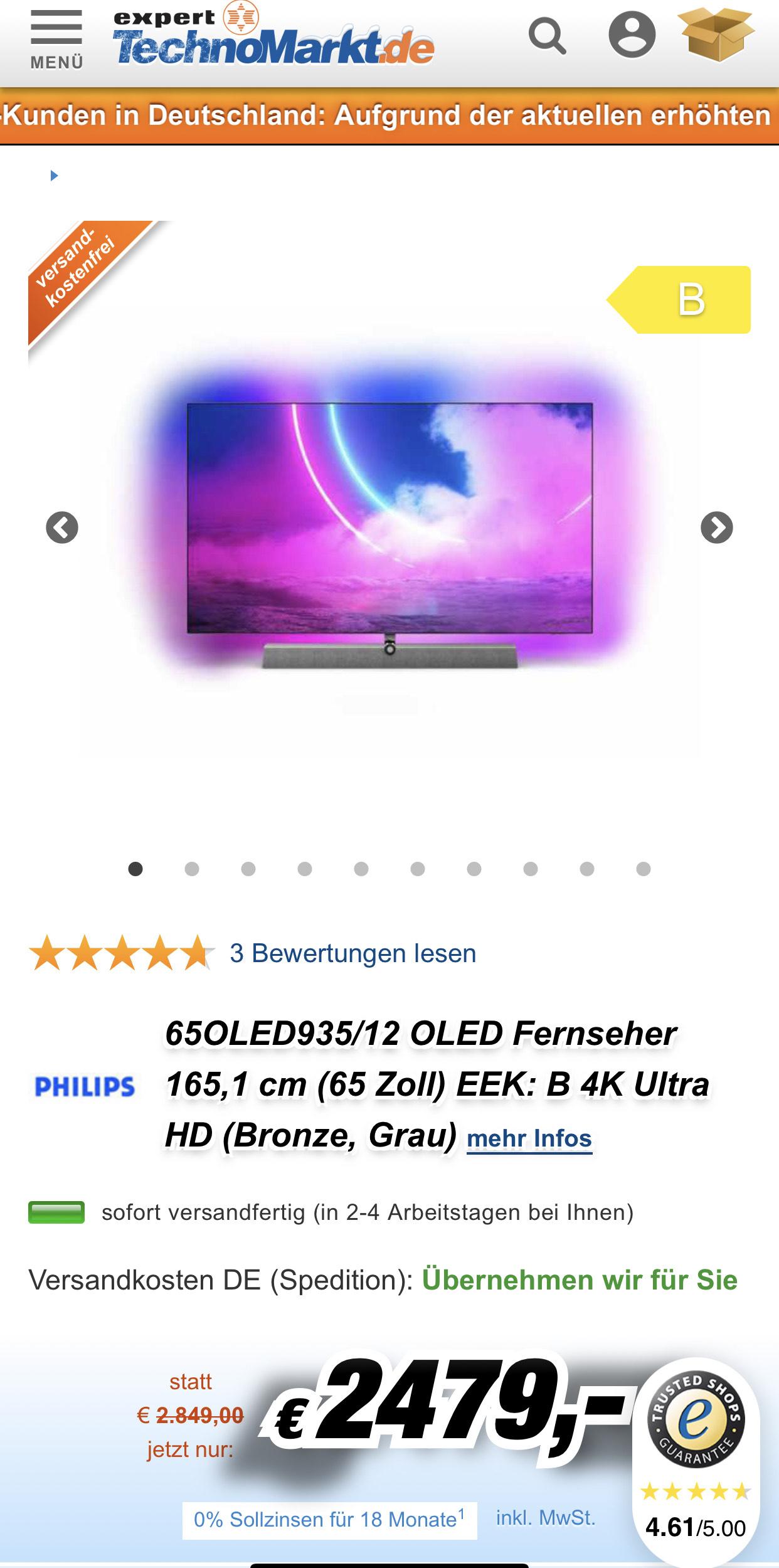 Philips 65Oled935/12 Bestpreis Kostenloser Versand