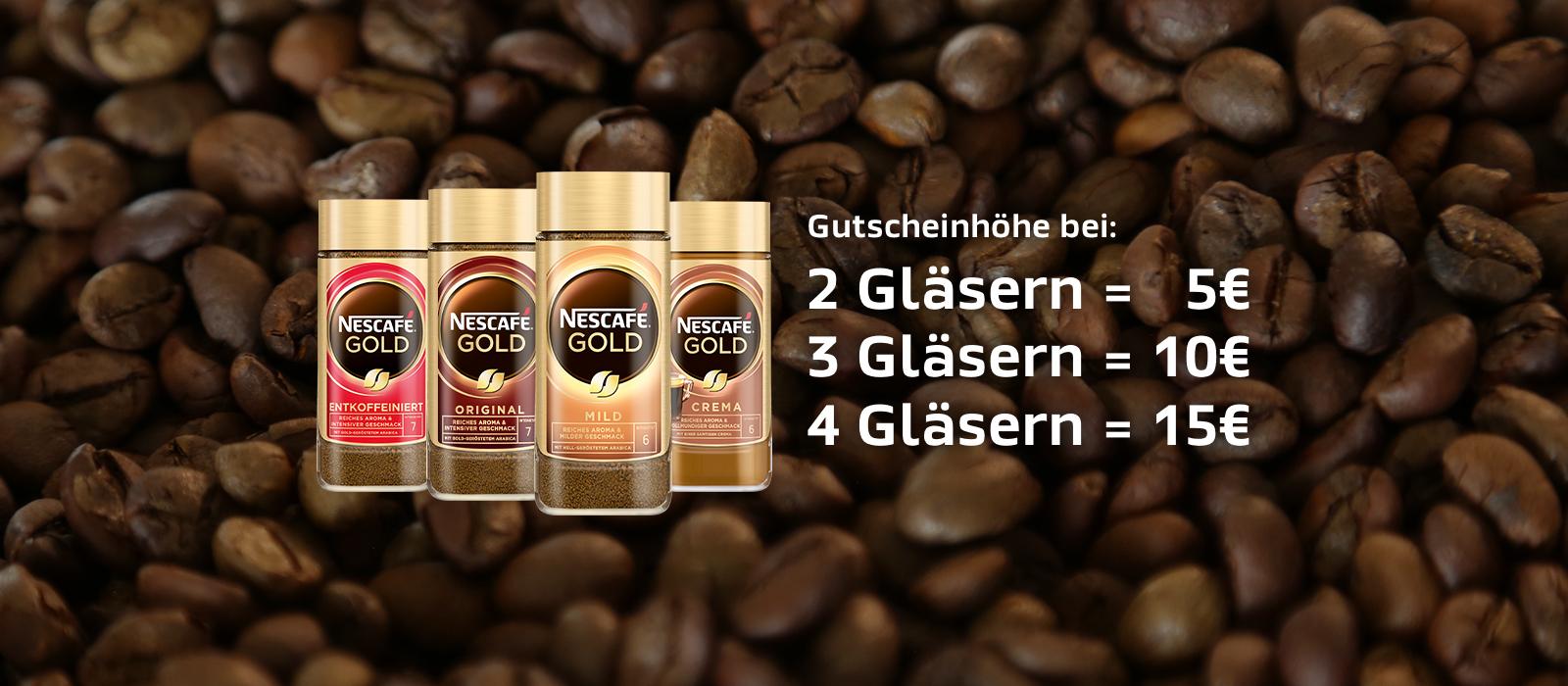 (Nescafe Gold) Mehr ist Mehr Aktion bis zu 15€ Einkaufsgutschein beim Kauf zurückerhalten