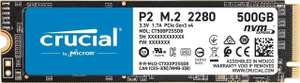 Crucial P2 SSD 500GB (2400 MB/s, 3D NAND TLC, NVMe, PCIe, M.2) [MM & Amazon]