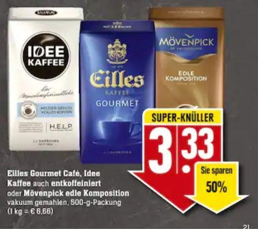 Wilkes Gourmet Café, Idee Kaffee auch entkoffeiniert oder Mövenpick edle Komposition 500 g Packung im Edeka 3,33€
