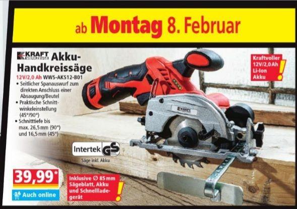 Kraft Akku-Handkreissäge 12V/2.0Ah WWS-AKS12-B01 Norma ab 08.02