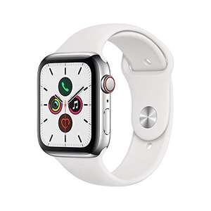 (Amazon.co.uk) Apple Watch Series 5 LTE (Cellular) 44mm Edelstahl Silber mit Sportarmband