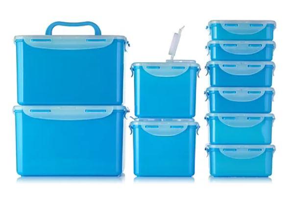 [QVC] LocknLock 10 Frischhaltedosen (360ml bis 4,5l, BPA-frei, 4-fach Klickverschluss, stapelbar, luft-/wasserdicht, viele Farben)