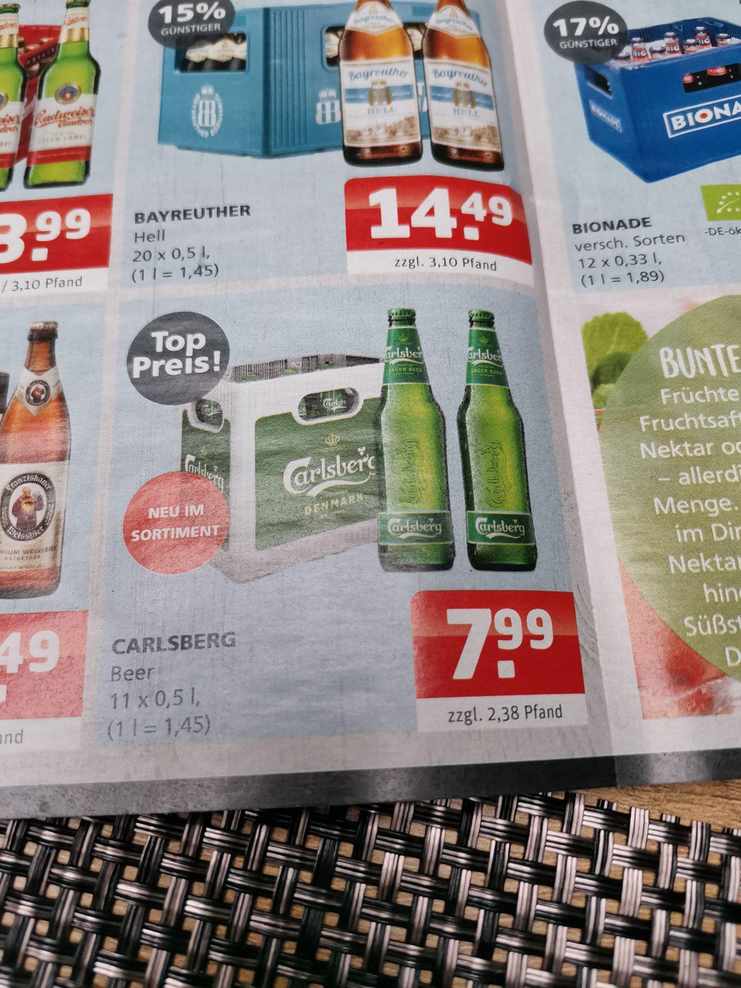 """""""Getränke Quelle"""" und """"Kronland"""" - 11er Kasten Carlsberg Bier 0,5l für 7,99€"""
