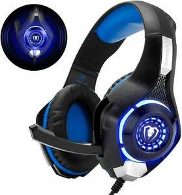 Beexcellent Gaming Headset Kopfhörer Mikrofon für PS5/PS4/PC/Xbox One LED Licht