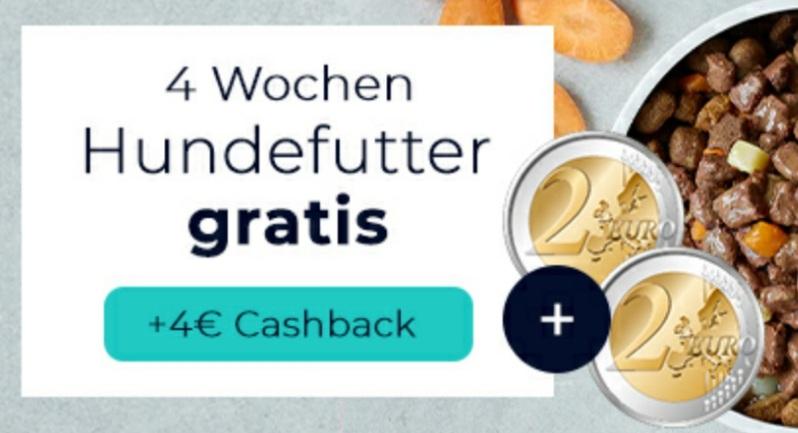 reebate/Tails.com   4 Wochen Hundefutter + eff. 2 € Gewinn durch Cashback