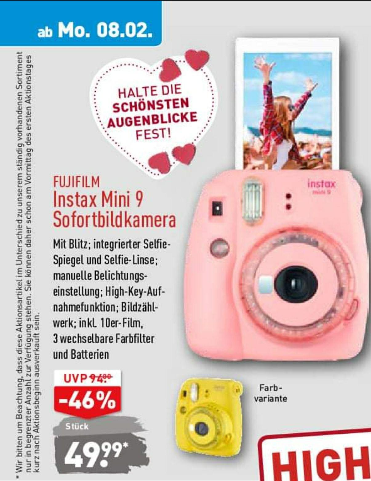 Fujifilm Instax Mini 9 in pink & gelb (inkl. 10er Film & 3x Farbfilter) [Aldi Nord]